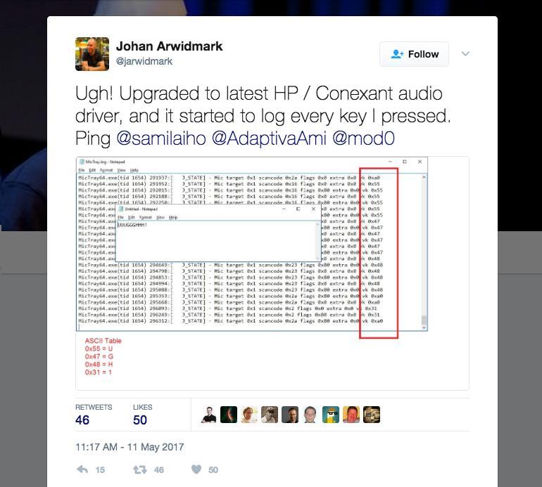 Der auf einigen HP-Notebooks vorinstallierte Audio-Treiber loggt alle