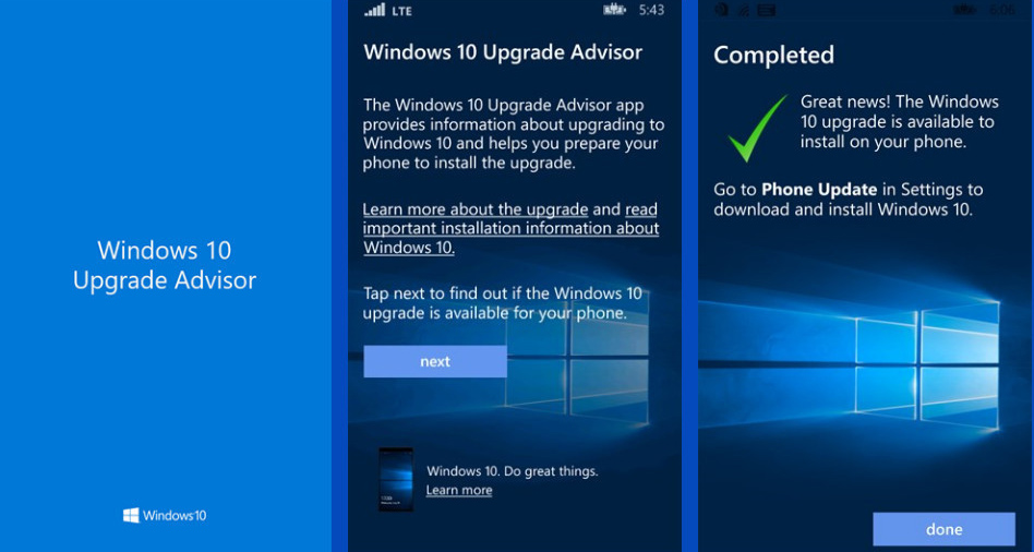 Windows-10-Upgrade-App für Windows Phones in Vorbereitung